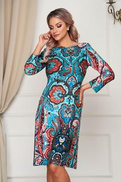 StarShinerS turquoise dress midi daily straight thin fabric
