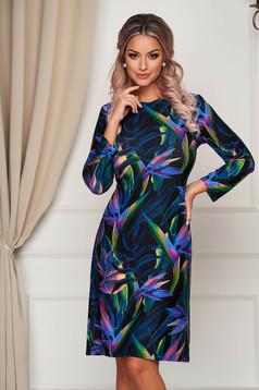 StarShinerS black dress midi daily straight thin fabric