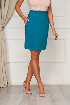 Turquoise skirt office short cut flared cloth from elastic fabric