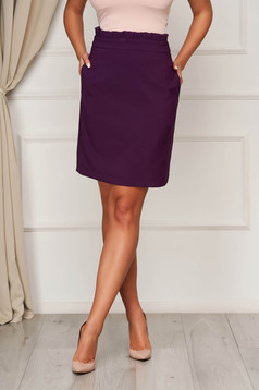 Purple skirt office short cut flared cloth from elastic fabric