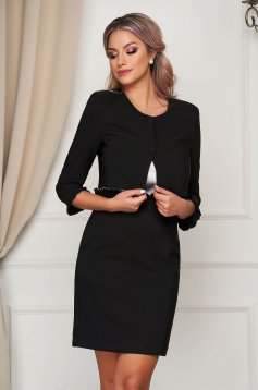 Office short cut black jacket flared thin fabric