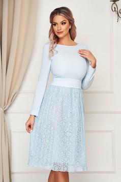 Dress StarShinerS lightblue elegant midi cloche laced with cut back