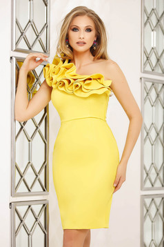 Occasional yellow dress short cut pencil with ruffle details one shoulder