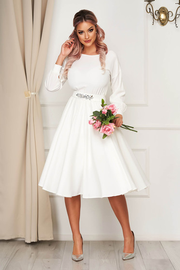 Dress StarShinerS white occasional cloche with elastic waist accessorized with tied waistband with embellished accessories