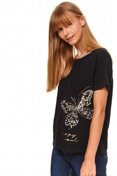Black t-shirt casual flared short sleeves with graphic details