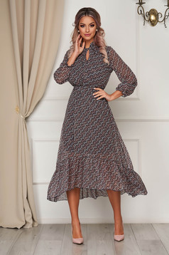 StarShinerS brown dress midi daily from veil fabric cloche with elastic waist