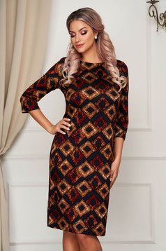 StarShinerS brown dress midi daily knitted with 3/4 sleeves straight