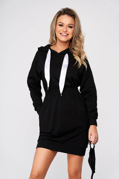 Black dress casual pencil short cut cotton with pockets