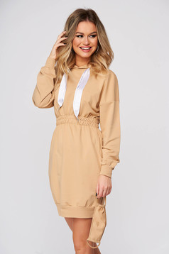 Cream dress casual short cut pencil cotton with pockets