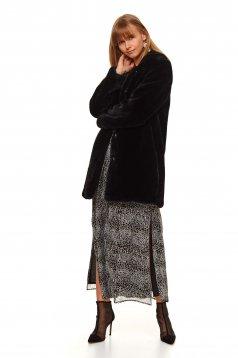 Palton Top Secret negru din blana ecologica cu un croi drept