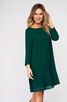 Green dress short cut daily flared with ruffle details