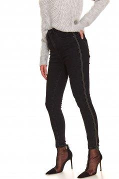 Black jeans casual skinny jeans medium waist slightly elastic cotton