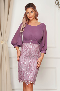 Occasional midi pencil purple dress from veil fabric laced with sequin embellished details