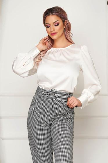 Bluza dama Artista alba office cu croi larg din material satinat