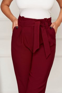 Burgundy trousers office conical cloth with pockets