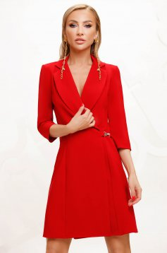 Elegant short cut pencil red dress wrap around cloth thin fabric