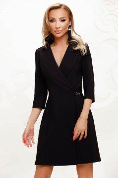 Elegant short cut pencil black dress wrap around cloth thin fabric