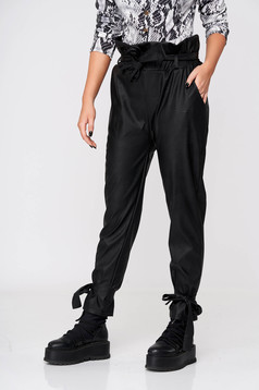 Black trousers casual conical from ecological leather with elastic waist