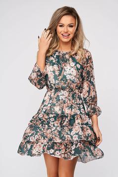 Green dress short cut daily thin fabric off-shoulder