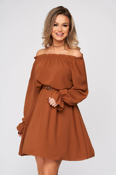 Brown dress short cut daily thin fabric naked shoulders straight