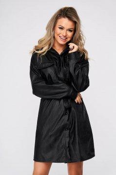 Rochie SunShine neagra scurta casual tip camasa din piele ecologica cu un croi drept