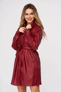 Burgundy dress short cut casual from ecological leather shirt dress