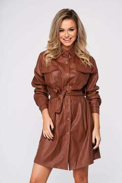 Brown dress short cut casual straight from ecological leather shirt dress