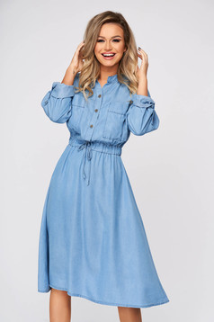 Blue dress midi daily cotton flaring cut