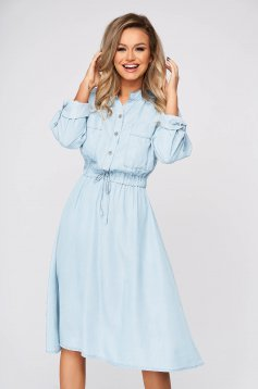 Lightblue dress midi daily cotton flaring cut