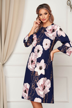 Darkblue dress midi daily a-line slightly elastic fabric with floral print
