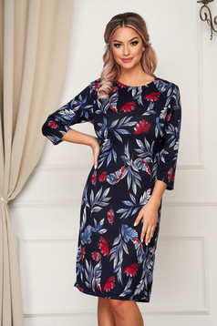 Darkblue dress midi daily knitted with 3/4 sleeves straight