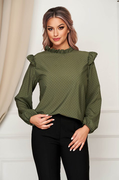 Darkgreen women`s blouse office flared thin fabric with ruffle details dots print