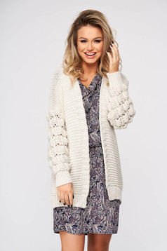 Ivory cardigan casual with easy cut knitted fabric