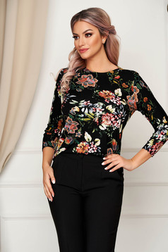 Black women`s blouse office flared thin fabric