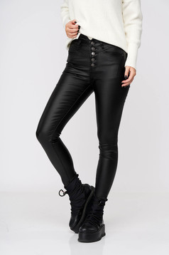 Black trousers casual from ecological leather high waisted