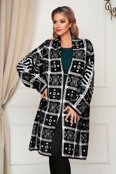 Black cardigan elegant long wool with easy cut