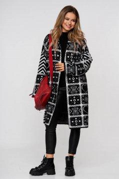 Cardigan elegant long wool with easy cut