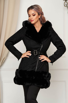 Black jacket from ecological leather elegant arched cut with faux fur lining