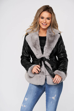 Grey jacket casual short cut from ecological leather with faux fur accessory