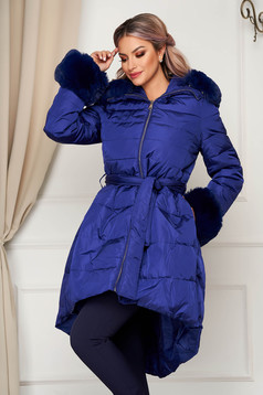 Blue jacket casual from slicker asymmetrical with faux fur accessory
