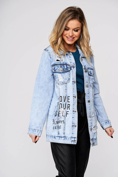 Lightblue jacket casual denim small rupture of material