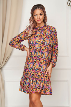 StarShinerS purple dress short cut daily flared thin fabric