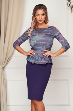 StarShinerS purple dress midi pencil peplum with 3/4 sleeves