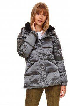 Grey jacket casual from shiny fabric
