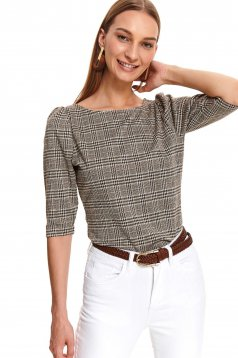 Black women`s blouse casual with 3/4 sleeves with chequers