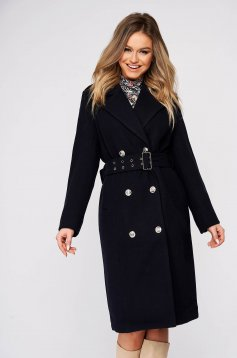 Darkblue coat casual long with button accessories cloth