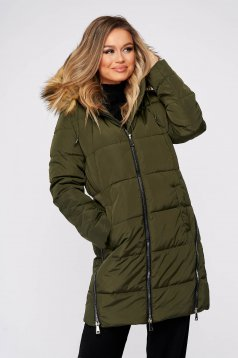 Green jacket casual midi from slicker with furry hood