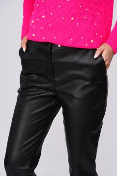 Black trousers casual with pockets from ecological leather