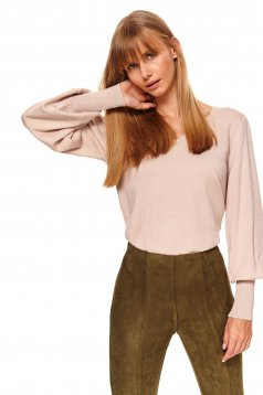 Peach sweater casual large sleeves with v-neckline knitted