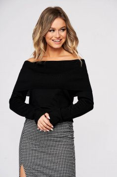 Pulover Top Secret negru casual mulat tricotat cu umeri goi